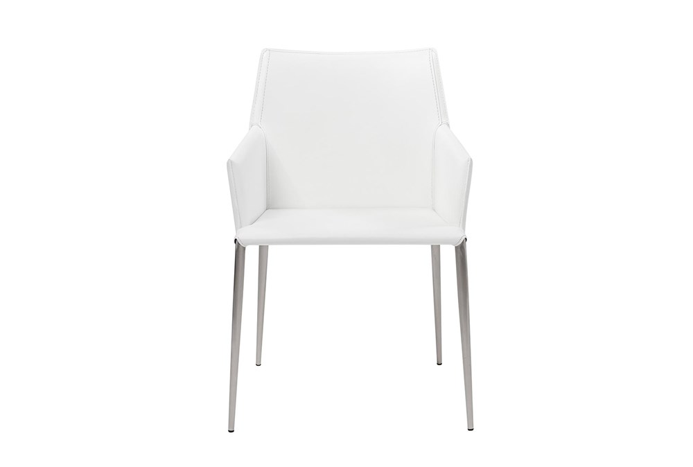 Origami White Leather-Like Upholstered Arm Chair With Stainless Steel Legs