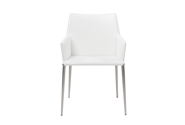 Origami White Leather-Like Upholstered Arm Chair With Stainless Steel Legs - 360