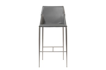 "Origami Dark Grey Leather-Like Upholstered 30"" Barstool With Stainless Steel Legs"