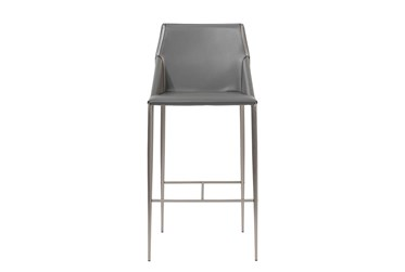 Origami Dark Grey Faux Leather Upholstered 30 Inch Barstool With Stainless Steel Legs