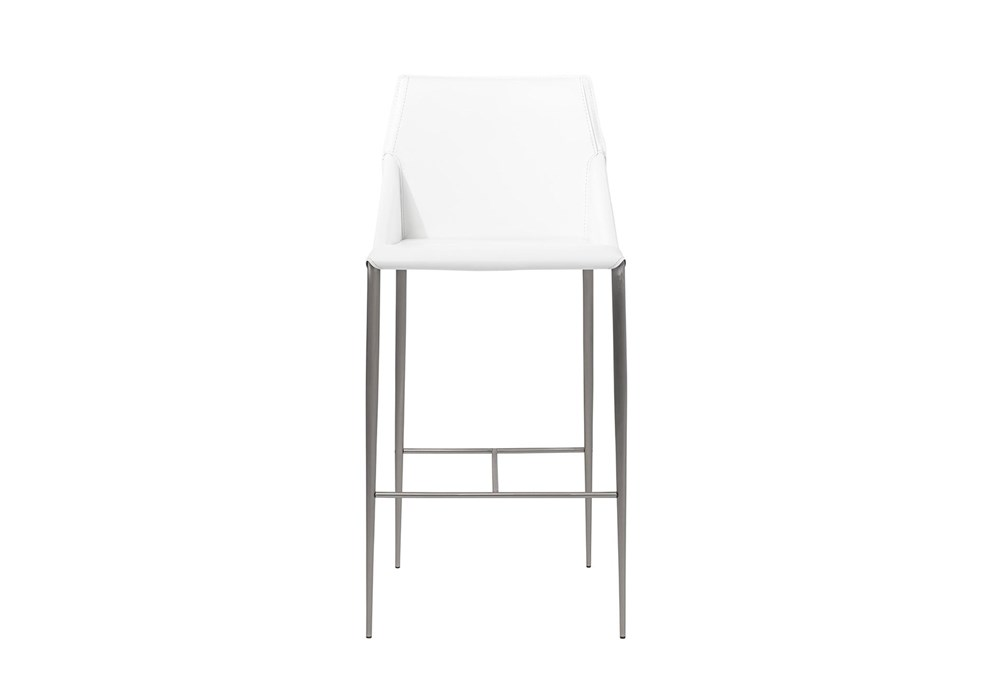 "Origami White Leather-Like Upholstered 30"" Barstool With Stainless Steel Legs"