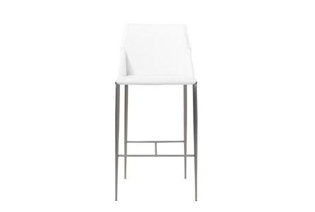 Origami White Leather-Like Upholstered 30