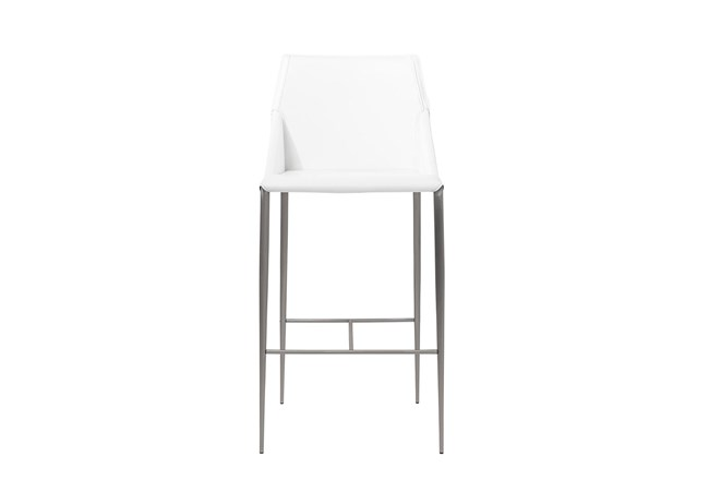 "Origami White Leather-Like Upholstered 30"" Barstool With Stainless Steel Legs - 360"