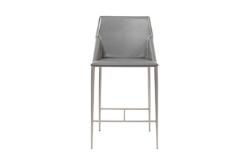 "Origami Dark Grey Leather-Like Upholstered 26"" Counterstool With Stainless Steel Legs"