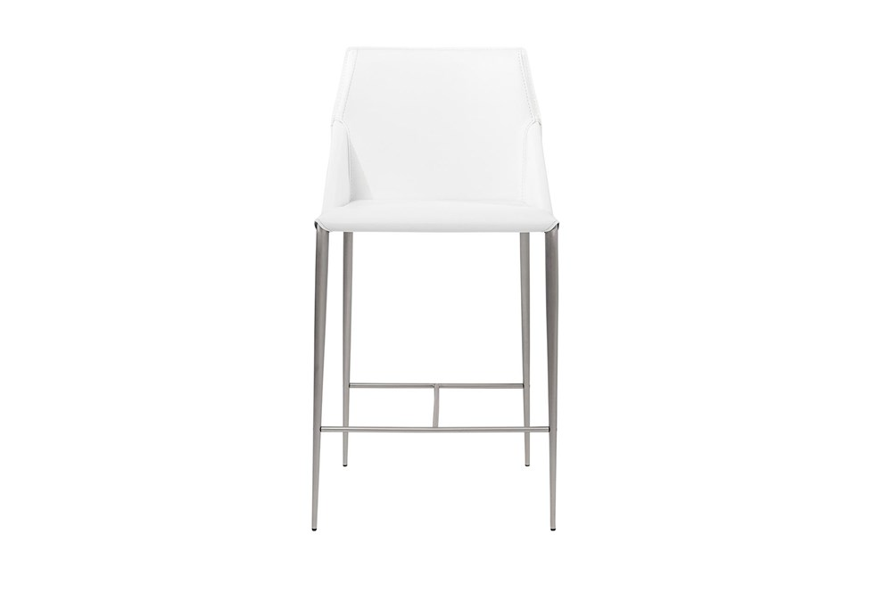 "Origami White Leather-Like Upholstered 26"" Counterstool With Stainless Steel Legs"