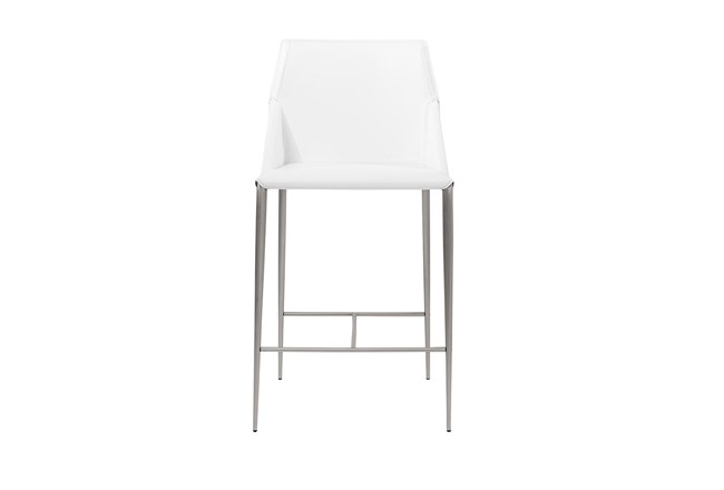 "Origami White Leather-Like Upholstered 26"" Counterstool With Stainless Steel Legs - 360"
