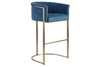 "Blue And Brass Barrel Back Upholstered 30"" Barstool"