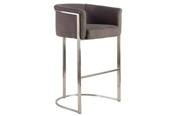 "Gray And Stainless Steel Barrel Back Upholstered 30"" Barstool"