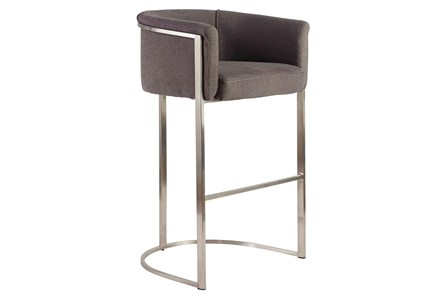 Gray And Stainless Steel Barrel Back Upholstered 30