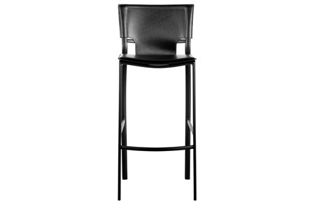 Cut Out Black Leather-Like Upholstered 30