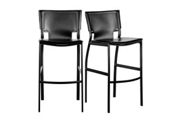 """Cut Out Black Leather-Like Upholstered 24"""" Counterstool-Set Of 2"""