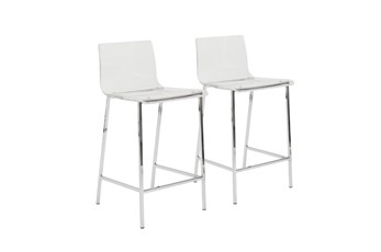"Clear Acrylic 26"" Counterstool With Chrome Legs-Set Of 2"
