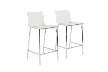 """Clear Acrylic 26"""" Counterstool With Chrome Legs-Set Of 2"""