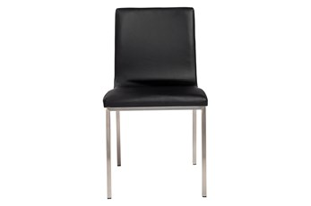 Black Vegan Leather And Brushed Steel Side Chair-Set Of 2