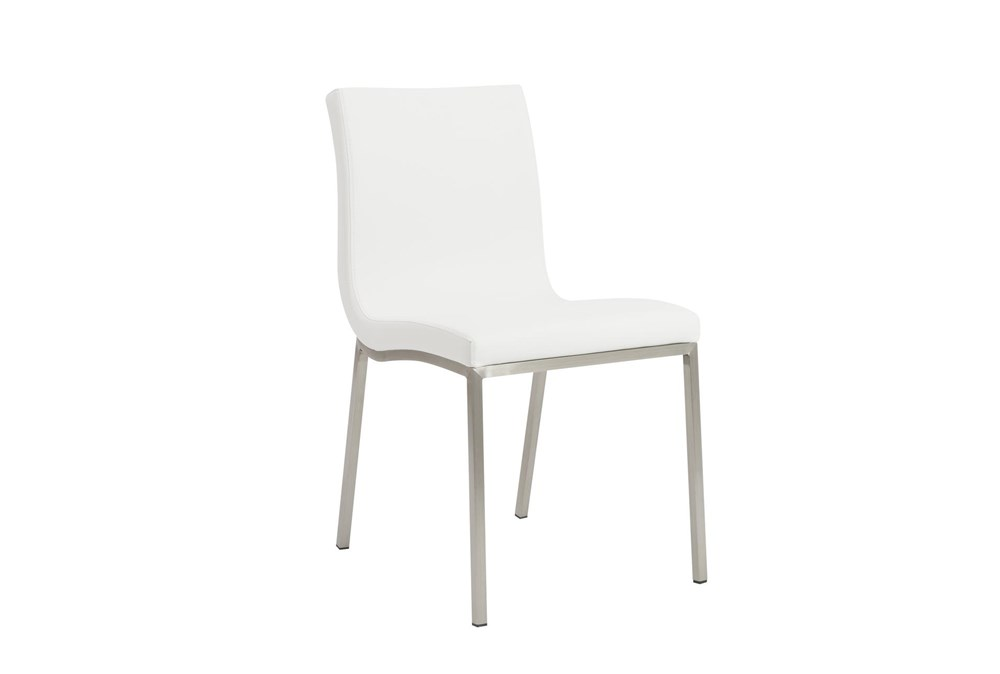 White Vegan Leather And Brushed Steel Side Chair-Set Of 2