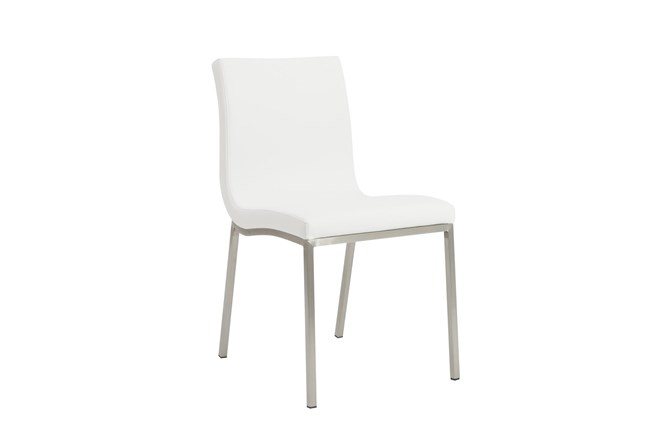White Vegan Leather And Brushed Steel Side Chair-Set Of 2 - 360