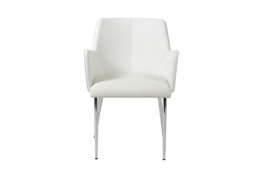 Grimstad White Vegan Leather And Chrome Arm Chair