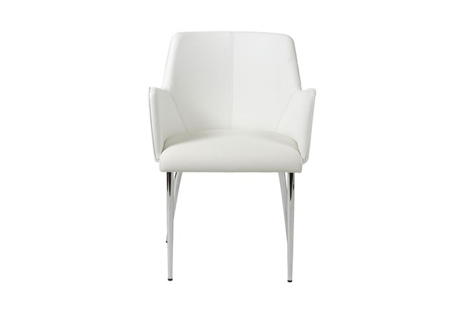 Grimstad White Faux Leather And Chrome Arm Chair - 360