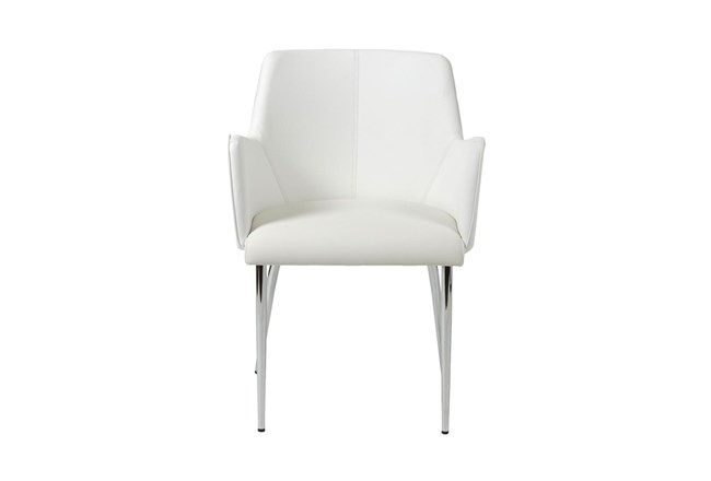 Grimstad White Vegan Leather And Chrome Arm Chair - 360