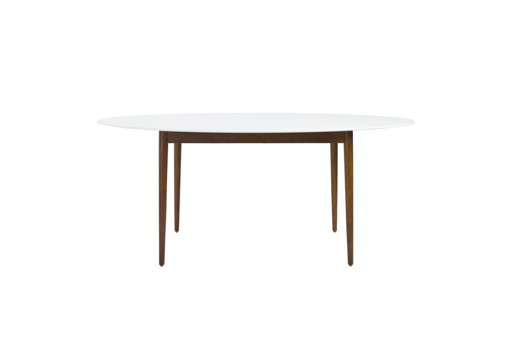 Newport White 63 Inch Oval Dining Table With Dark Walnut Base