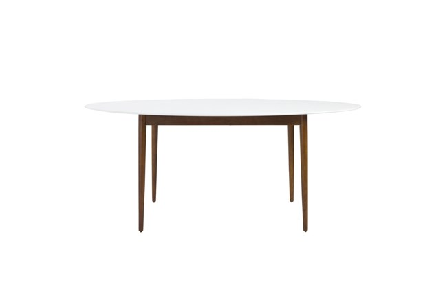 Newport White 63 Inch Oval Dining Table With Dark Walnut Base - 360