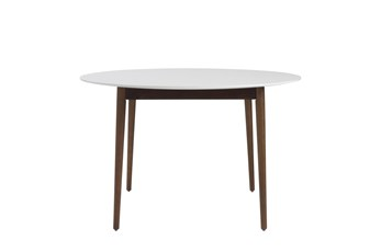 Newport White 47 Inch Round Dining Table With Dark Walnut Base