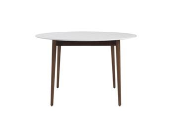Newport White 47 Inch Round Dining Table With Dark Walnut Base