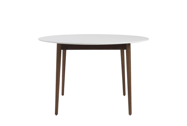 Newport White 47 Inch Round Dining Table With Dark Walnut Base - 360