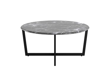 Liv Black Faux Marble 36 Inch Round Coffee Table With Matte Black Base