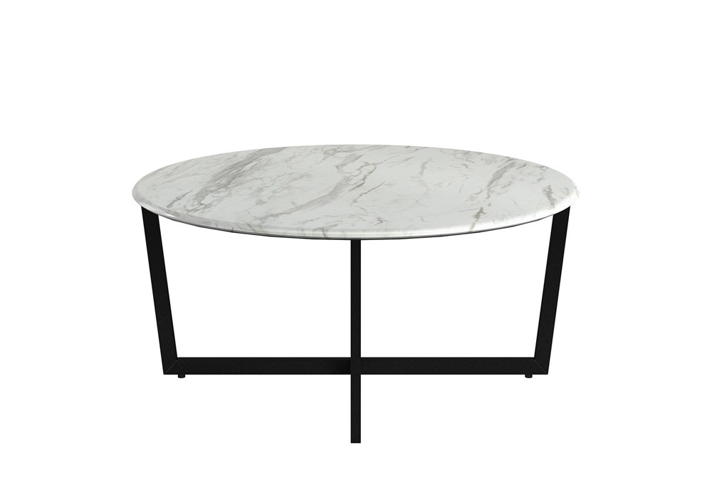 Liv White Faux Marble 36 Inch Round Coffee Table With Matte Black Base