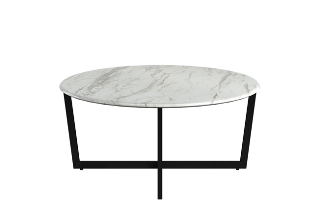 Liv White Faux Marble 36 Inch Round Coffee Table With Matte Black Base - 360