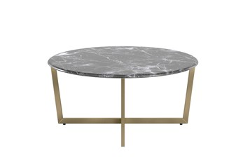 Liv Black Faux Marble 36 Inch Round Coffee Table With Matte Gold Base