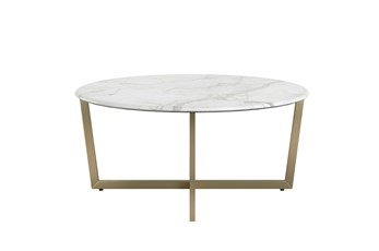 Liv White Faux Marble 36 Inch Round Coffee Table With Matte Gold Base