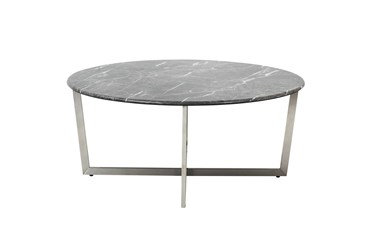 Liv Black Faux Marble 36 Inch Round Coffee Table With Brushed Stainless Steel Base
