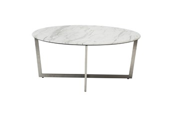 Liv White Faux Marble 36 Inch Round Coffee Table With Brushed Stainless Steel Base