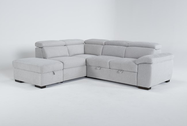 """Dante 104"""" 3 Piece Convertible Sleeper Sectional With Left Arm Facing Storage Chaise - 360"""