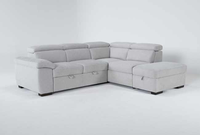 """Dante 104"""" 3 Piece Convertible Sleeper Sectional With Right Arm Facing Storage Chaise - 360"""