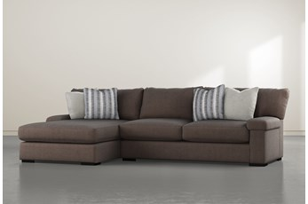 """Cuddle Mocha 2 Piece 132"""" Sectional With Left Arm Facing Chaise"""