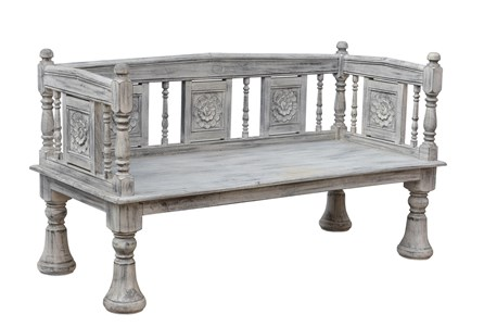 Curved Back Carved Bench - Main