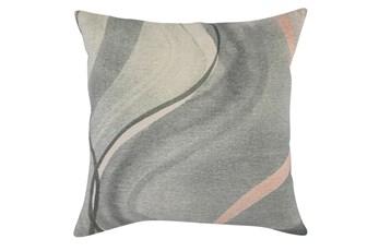 Accent Pillow - Blue + Yellow Linen Swirl 22X22