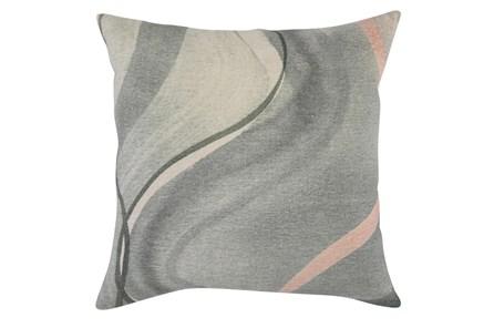 Accent Pillow - Blue + Yellow Linen Swirl 22X22 - Main