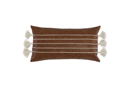 Accent Pillow - Brown Faux Leather With Stripes 14X26 - Main