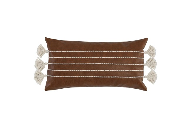 Accent Pillow - Brown Faux Leather With Stripes 14X26 - 360