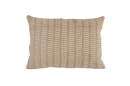Accent Pillow - Gold + Ivory Stripe 14X20 - Main