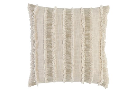 Accent Pillow - Ivory + Natural Textured Stripe 22X22 - Main