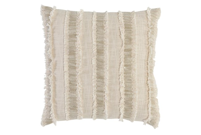 Accent Pillow - Ivory + Natural Textured Stripe 22X22 - 360