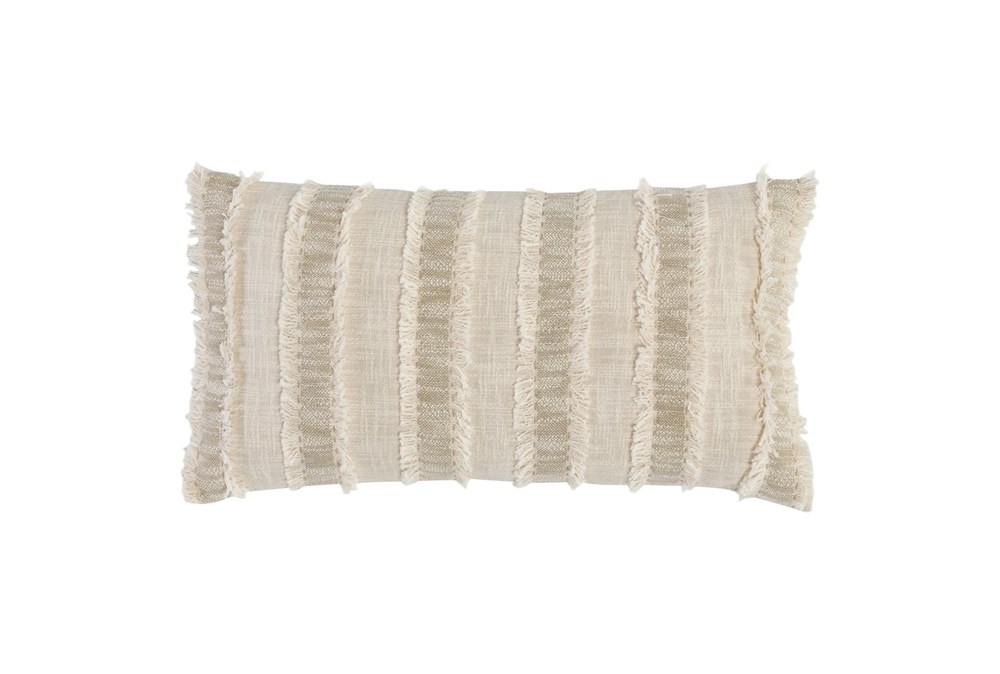 Accent Pillow - Ivory + Natural Textured Stripe 14X26
