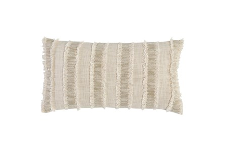 Accent Pillow - Ivory + Natural Textured Stripe 14X26 - Main
