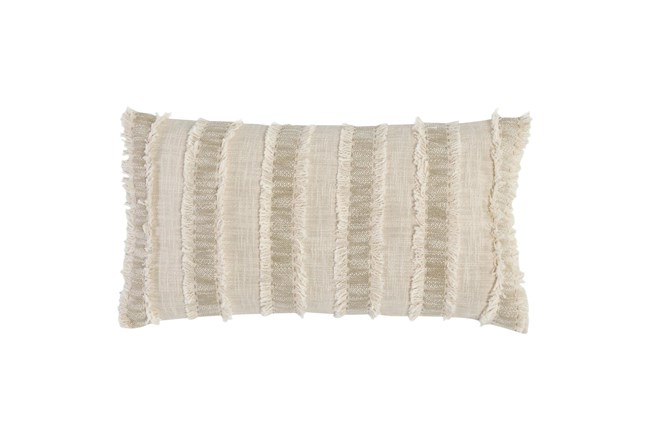Accent Pillow - Ivory + Natural Textured Stripe 14X26 - 360