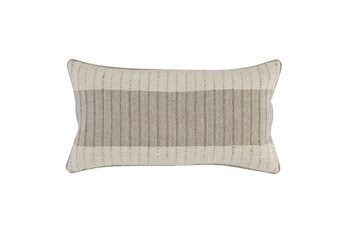Accent Pillow - Ivory + Natural Block Stripe 14X26